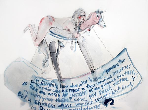 Eugenie (from La Philosophie Dans Le Boudoir) Graphite And Watercolor On  Paper 11 X 14 Inches